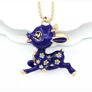 New Betsey Johnson blue deer necklace